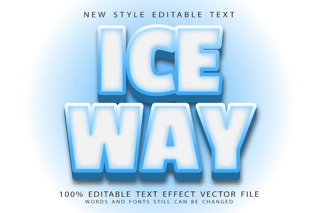 Ice way editable text effect emboss modern style