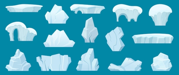 氷山。海水漫画コレクションの冷たい白い氷の岩と北極の風景。