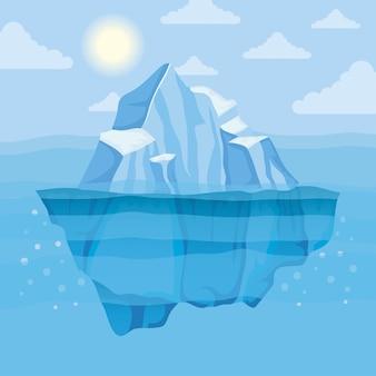 빙산 블록 및 태양 북극 현장 풍경