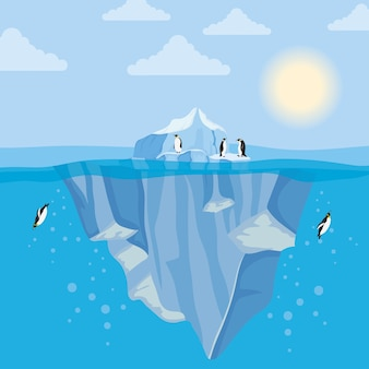 Iceberg block arctic night scene with penguins swiming
