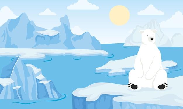 ホッキョクグマと氷山ブロック北極シーン