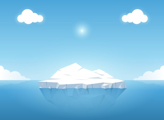Iceberg in blue ocean on the summertime. vector illustration.