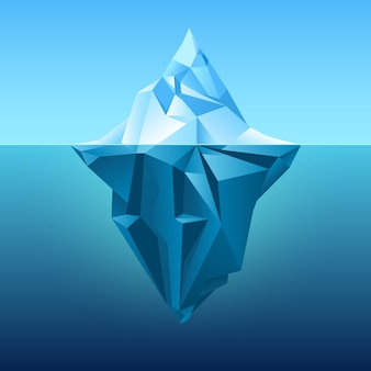 Iceberg in blue ocean vector background