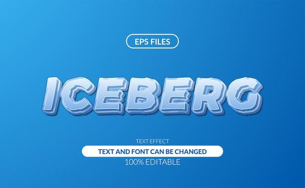 빙산 차가운 흰색 파란색 강한 조각 얼음 편집 가능한 텍스트 효과.