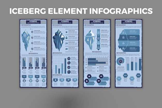 Iceberg element infographic template