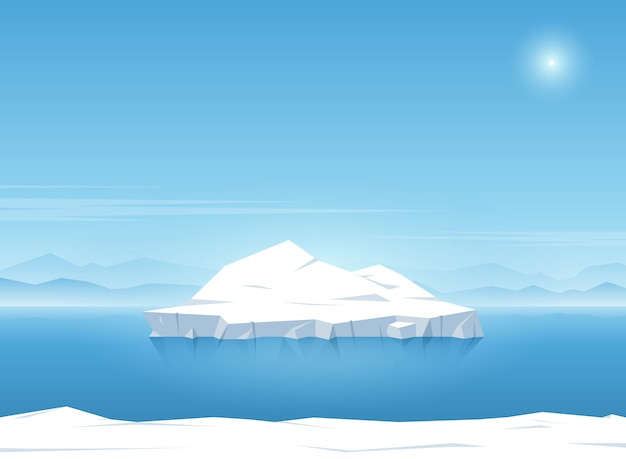 Iceberg floating in blue ocean. summer background. vector illustration.