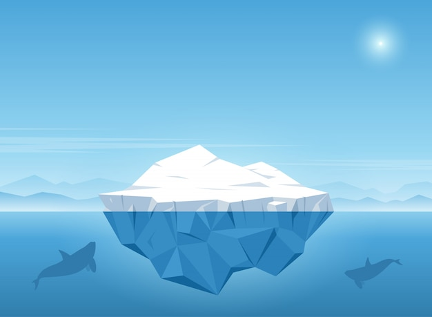 Iceberg floating in blue ocean with whale swims under the iceberg. vector illustration