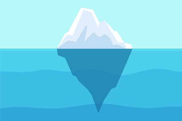 바다에 떠 있는 빙산. 북극 물, 버그와 얼어붙은 빛이 있는 수중 바다. 극지방 또는 남극 대륙이 녹는 산 벡터 풍경. 그림 북극 빙산, 바다에서 남극을 동결
