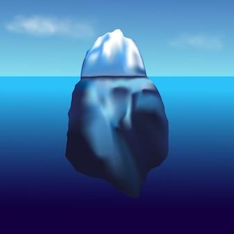 氷山が浮かんでいます。青い純粋な水と雪の丘のある冬の北極の風景。