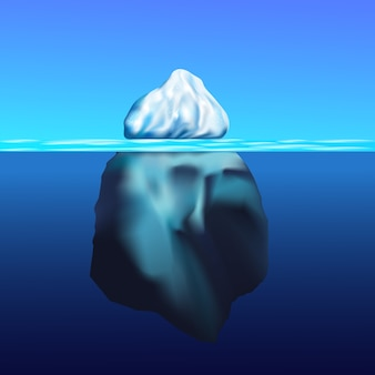 Iceberg floatingwinter arctic landscape with blue pure water and snow hills