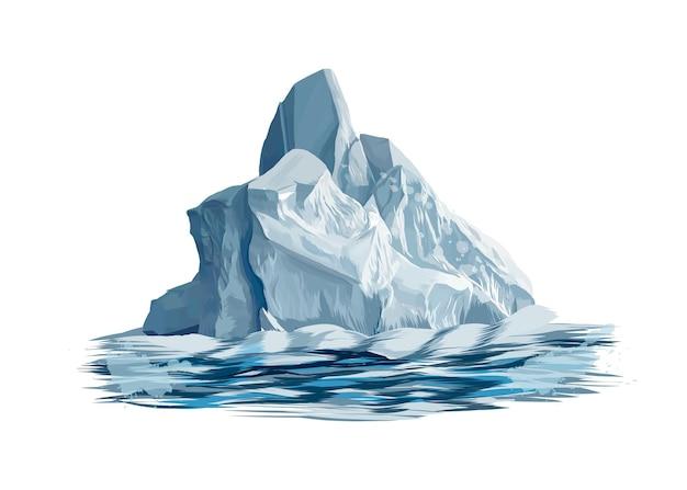 수채화, 컬러 드로잉의 스플래시에서 빙산.