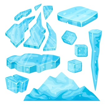 Iceberg, icicle, ice cube and broken pieces.