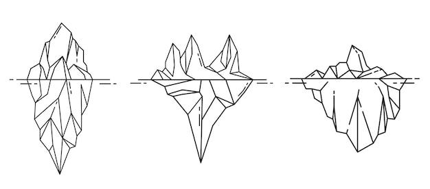 アウトラインスタイルの氷山アイコン。ベクトルイラスト。
