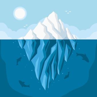 Illustrazione dell'iceberg nell'oceano