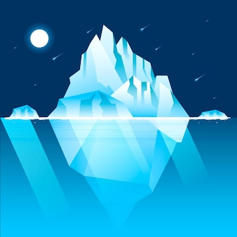 Iceberg illustration with night sky and shooting stars