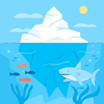 Иллюстрация айсберга с акулой и рыбой