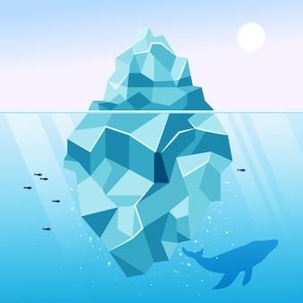 Illustrazione di iceberg con balena e pesce