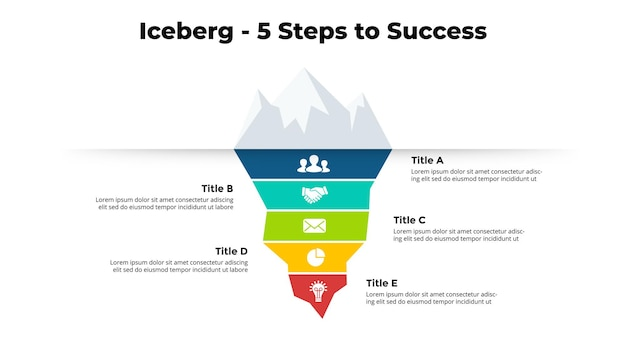 Iceberg infographic 5 steps to success creative chart