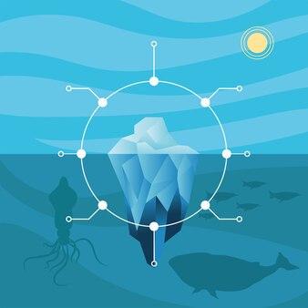 Инфографика айсберга с дизайном кита осьминога, анализ данных и информационная тема.
