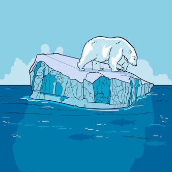 Iceberg landscape hand drawn design