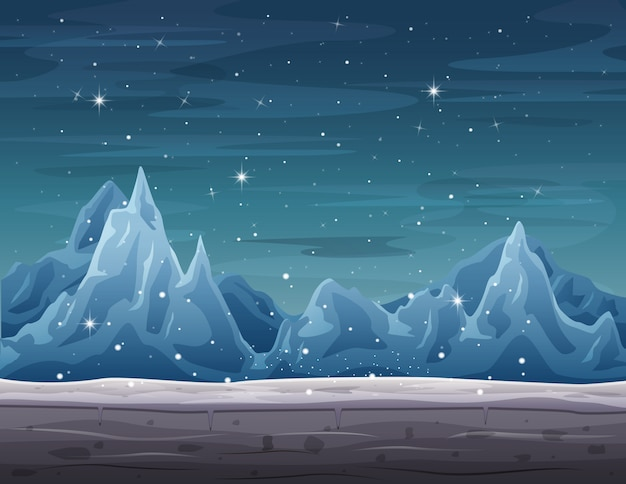 Айсберг пейзаж на зимний сезон со снегопадом