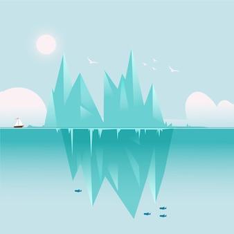 Пейзаж айсберга с лодкой и рыбами