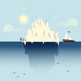 보트와 펭귄 빙산 풍경
