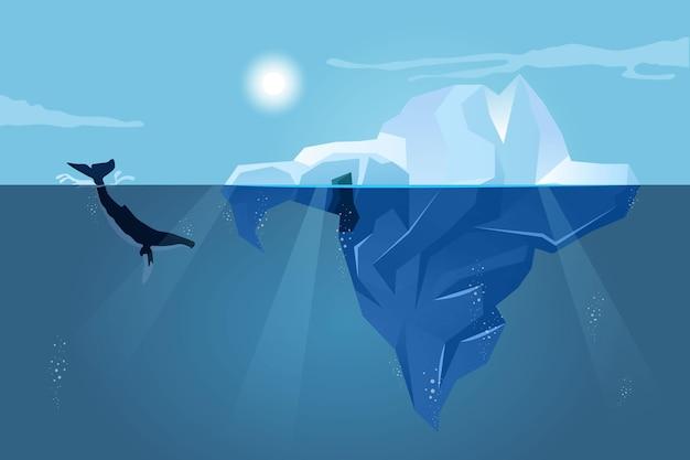 Paesaggio dell'iceberg con la balena