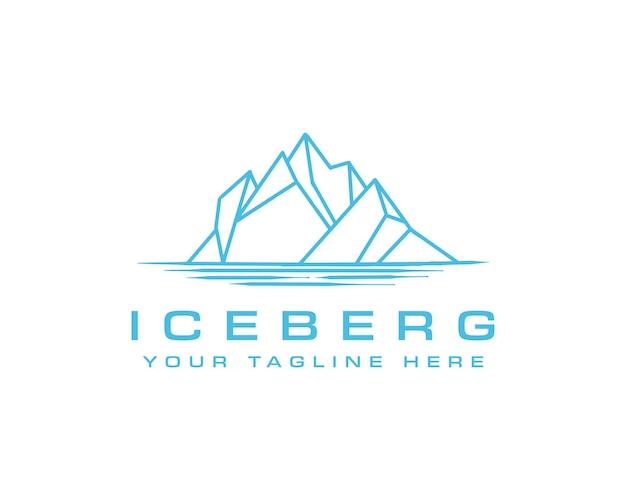 氷山ロゴ幾何学的な線の概要モノラインイラスト