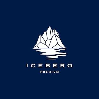진한 파란색에 기하학적 빙산 로고