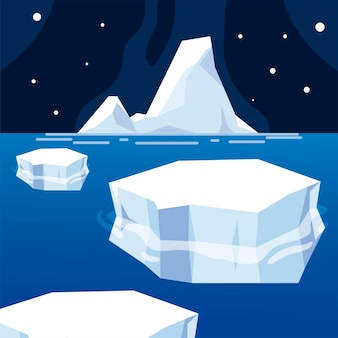 Iceberg melted ice winter sea night north pole
