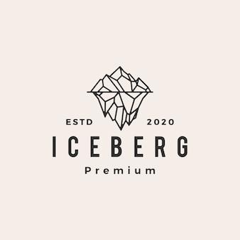 Иллюстрация значка винтажного логотипа горы айсберг
