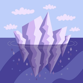 Iceberg in the ocean illustrated