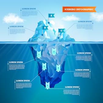 Iceberg ralistic infographic