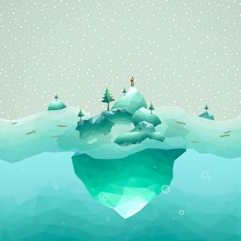 3d 등각 투영 평면 디자인의 사람과 빙산 풍경