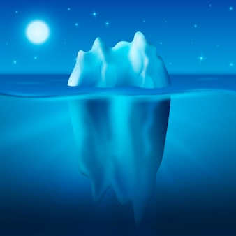 Iceberg under the starry night