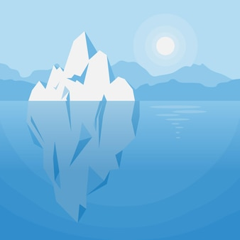 Iceberg under water illustration