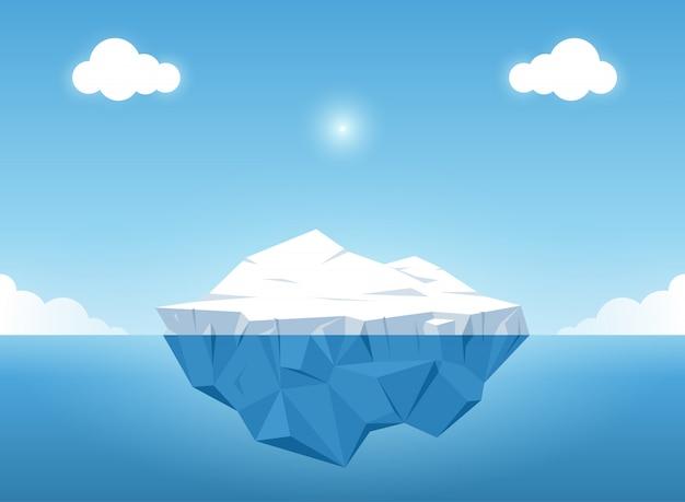 바다 위의 아름다운 투명 수중보기와 빙산. 벡터 일러스트레이션
