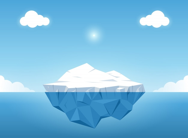 Iceberg with above and beautiful transparent underwater view in the ocean. vector illustra