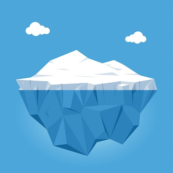 Iceberg with above and underwater view on blue background with clouds. vector illustration