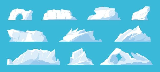 빙산. 북극과 북극의 풍경 요소, 녹는 얼음 산과 빙하, 눈 덮인 모자와 얼어 붙은 바다. 벡터 설정 그림