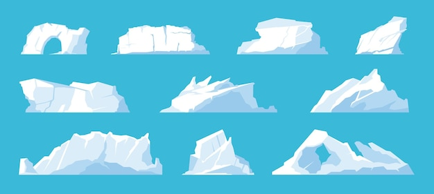 Icebergs. arctic and north pole landscape elements, melting ice mountains and glaciers, snow caps and freeze ocean. vector set illustration