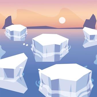 Icebergs melted sea north pole landscape design