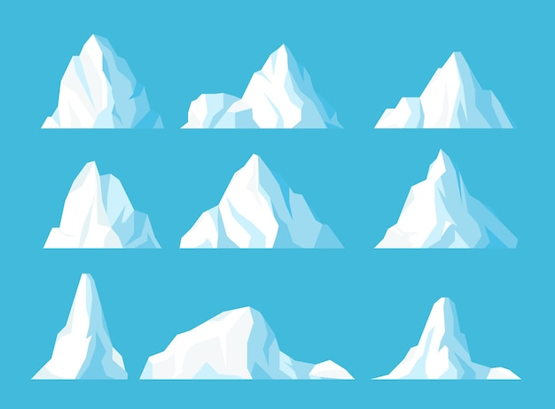 Icebergs in ocean flat set icy frozen mountains peak floating in water ice arctic snowy rocks