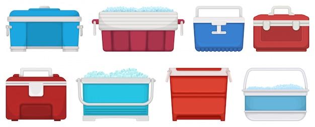 Коробка для иллюстрации льда на белой предпосылке. мультфильм установить значок icebox. мультфильм набор значок коробки для льда.