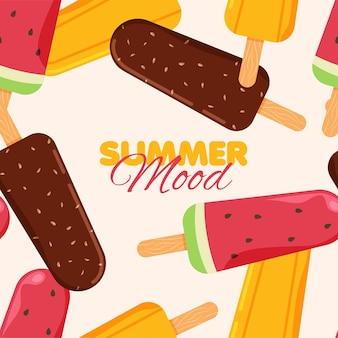 アイスクリームのシームレスなパターンチョコレートオレンジとスイカのアイスクリーム