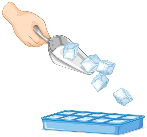 Icecube in spoon and ice tray on white
