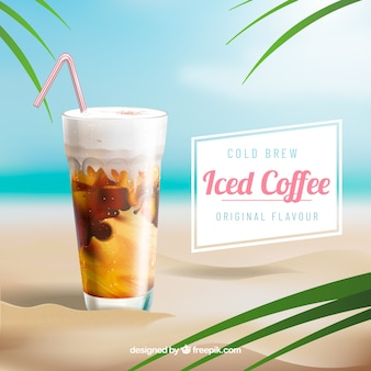 Iced coffee background in realistic style
