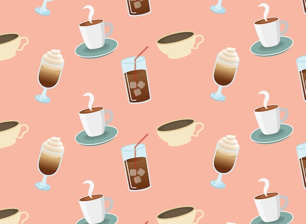 Iced coffee glasses and cups seamless pattern