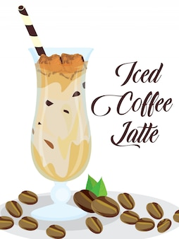 Iced coffee latte in glasses in isolated background